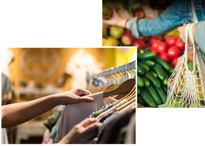 Resident shopping at a market near Esprit Marina del Rey in Marina del Rey, California