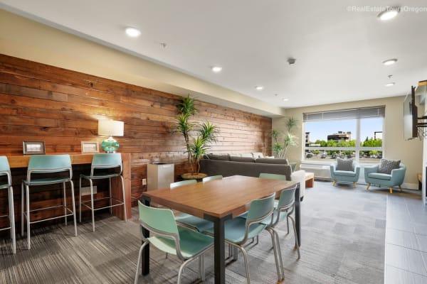 Unique clubhouse tables at South Block Apartments in Salem, Oregon