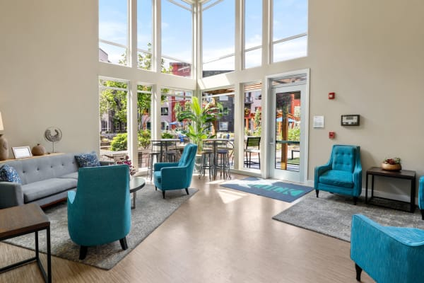 Luxury clubhouse's main entrance at South Block Apartments in Salem, Oregon