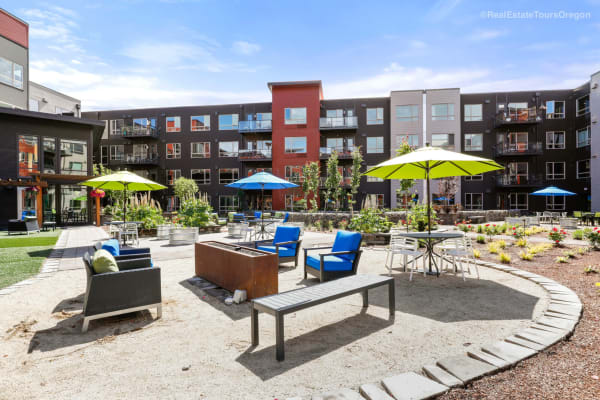 Sunny patio at South Block Apartments in Salem, OR