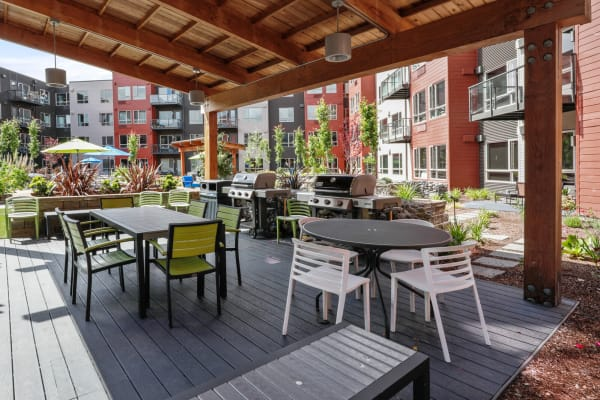A fully covered patio at South Block Apartments in Salem, Oregon