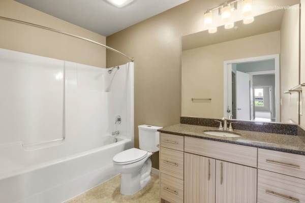Bathroom with plenty of storage space at South Block Apartments in Salem, Oregon
