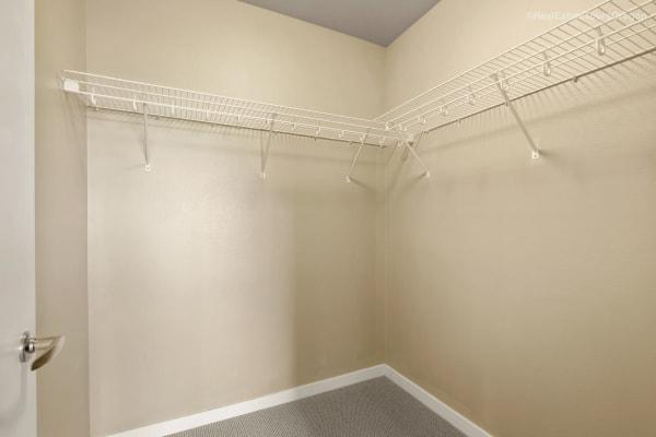 Walk-in closet at South Block Apartments in Salem, Oregon