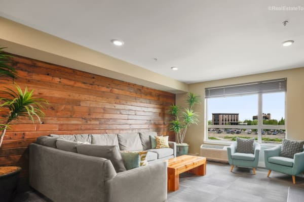 Luxurious clubhouse seating at South Block Apartments in Salem, OR