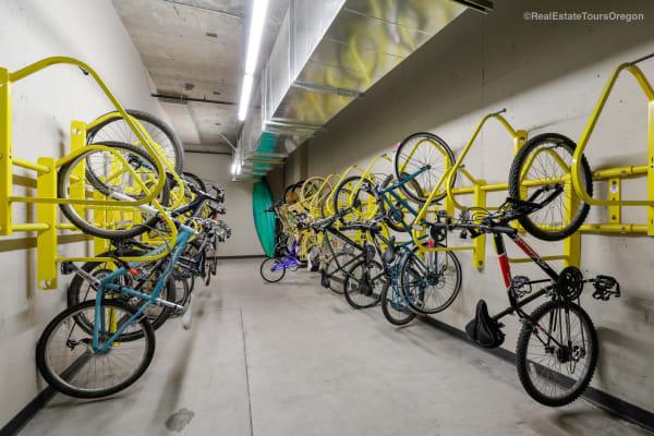 Bike storage at South Block Apartments in Salem, Oregon