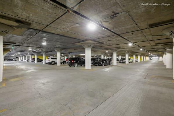 Covered garage parking at South Block Apartments in Salem, Oregon