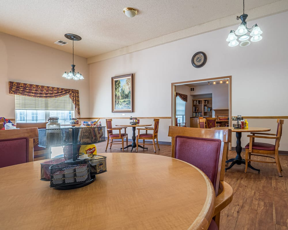 Large resident dining room at Traditions of Owatonna in Owatonna, Minnesota.
