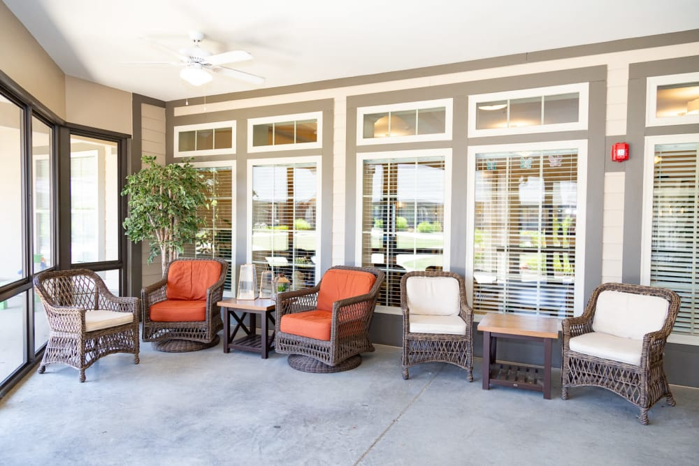 Sunny porch at The Legacy at Liberty Ridge in West Chester, Ohio