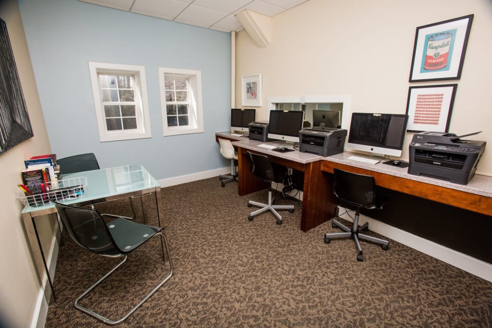 Spacious business center at Studio West in Boone, North Carolina