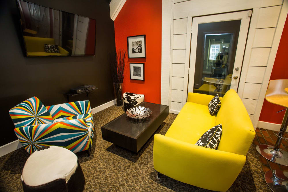 Cozy living room at Studio West in Boone, North Carolina