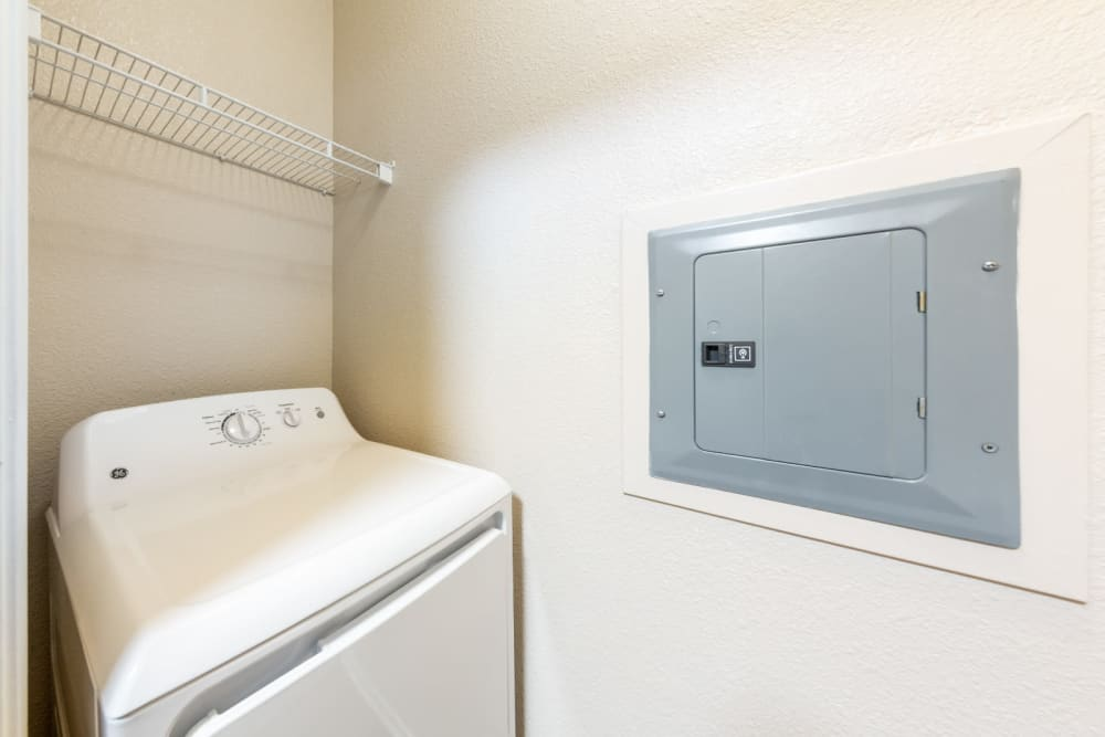 Full size washer and dryer at The Fairmont at Willow Creek in Folsom, California