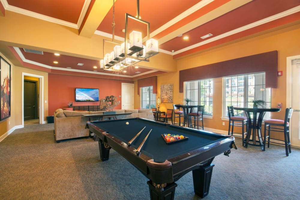 Game room with pool table at Integra Hills Apartment Homes in Ooltewah, Tennessee