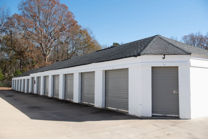 Outdoor storage units at  Space Shop Self Storage in Covington, GA