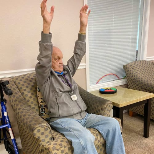Chair exercises at FountainBrook in Midwest City, Oklahoma
