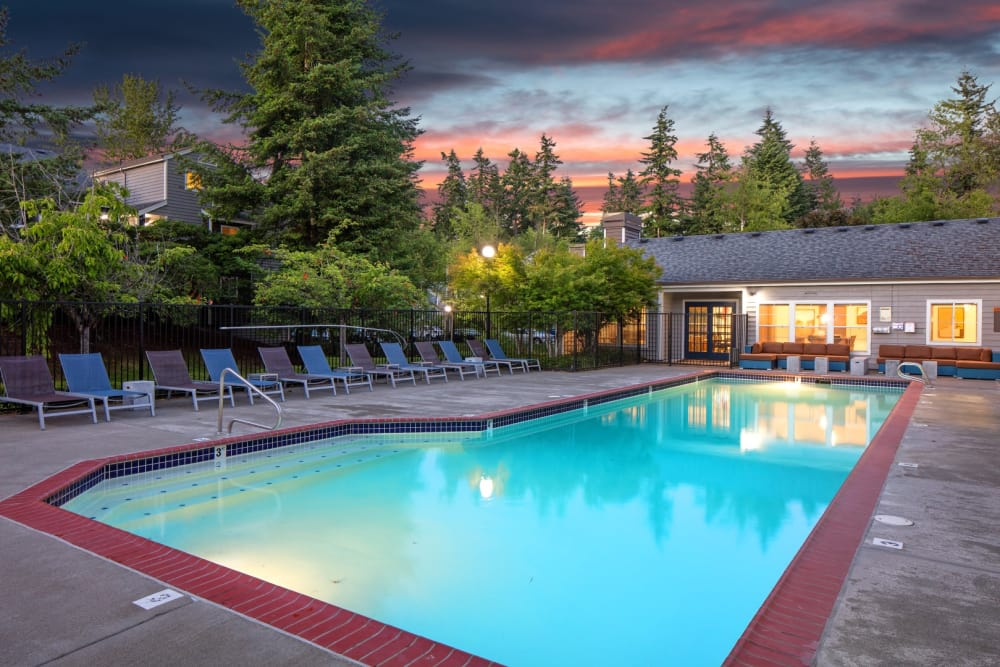 Expansive pool deck at The Carriages at Fairwood Downs in Renton, WA