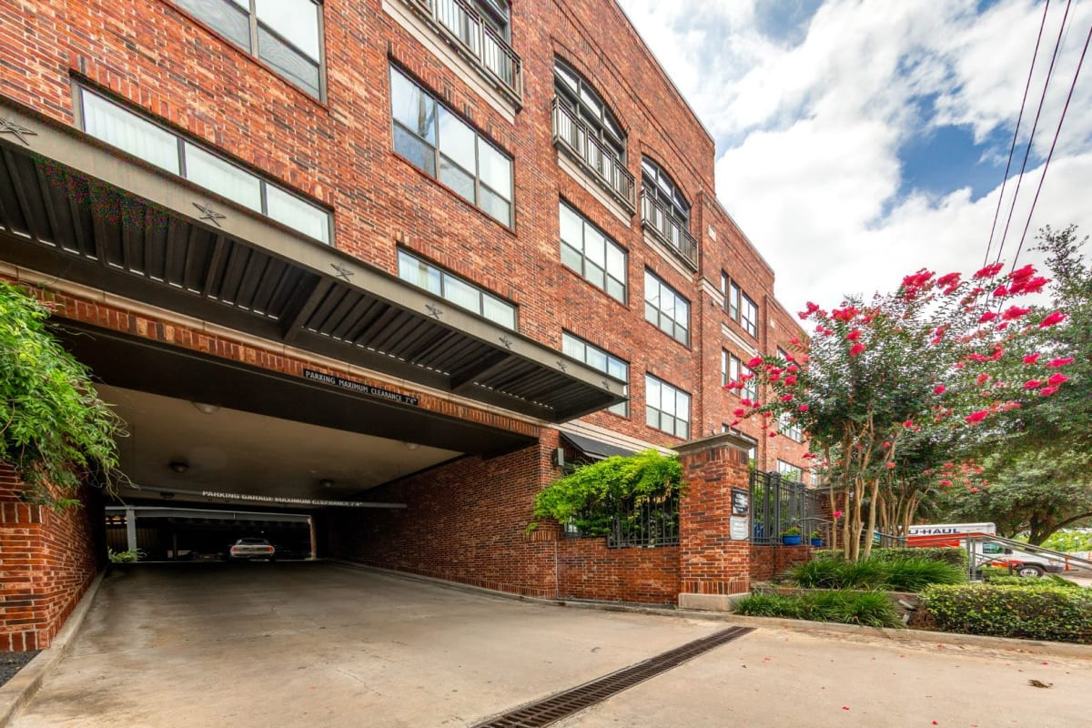 Parking garage entrance at Marquis Lofts on Sabine in Houston, Texas