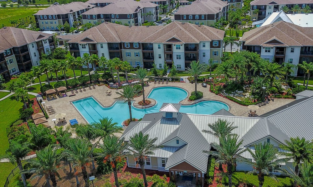 Aerial view of our luxurious pool area at Cabana Club and Galleria Club in Jacksonville, Florida