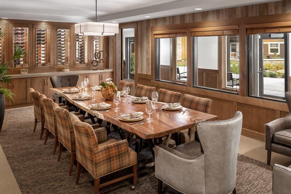 Large elegant dinning table at The Springs at Bozeman in Bozeman, Montana