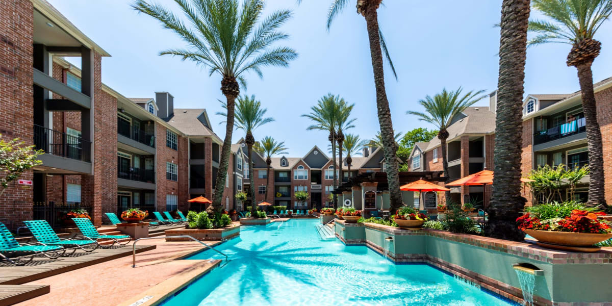 Resort style pool at Marquis on Pin Oak in Houston, Texas