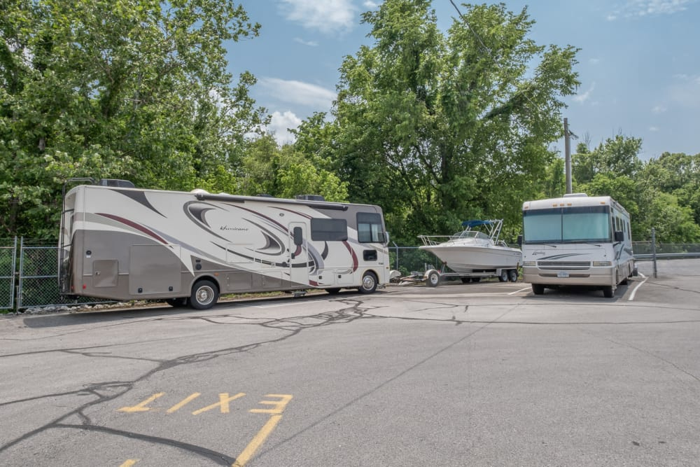 RVs and a boat stored at Apperson Self Storage in Salem, Virginia