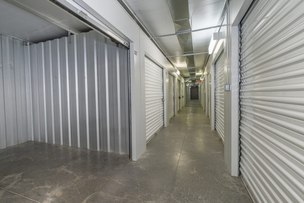 A hallway of indoor, climate-controlled storage units in Roanoke, Virginia