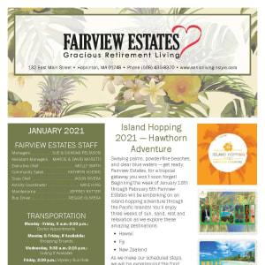 January newsletter at Fairview Estates Gracious Retirement Living in Hopkinton, Massachusetts