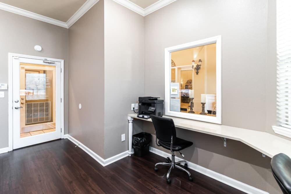 Private executive business center with access to printer/fax machine at Marquis of Carmel Valley in Charlotte, North Carolina