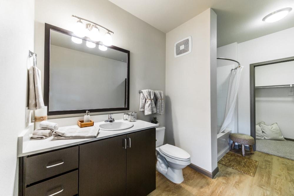 Large and bright bathroom with walk in closet at Marquis at Desert Ridge in Phoenix, Arizona