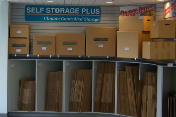 Storage boxes for sale at Self Storage Plus in Manassas, VA