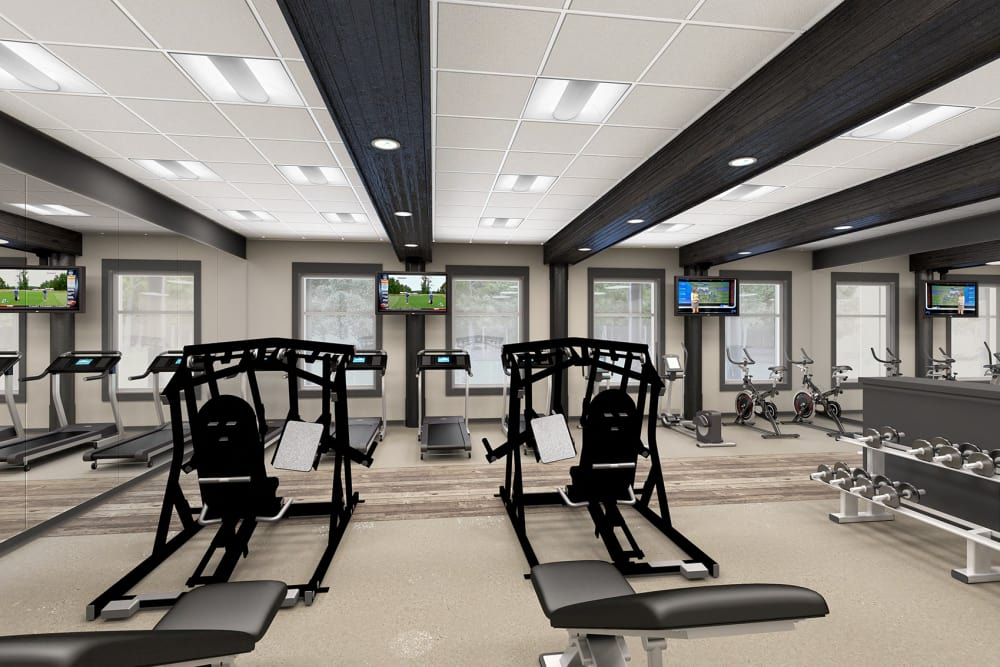 Rendering of modern fitness center at Everly Roseland in Roseland, New Jersey