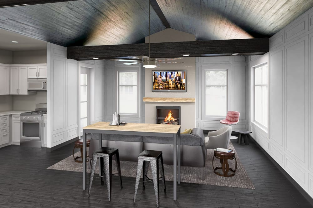 Rendering of lounge at Everly Roseland in Roseland, New Jersey