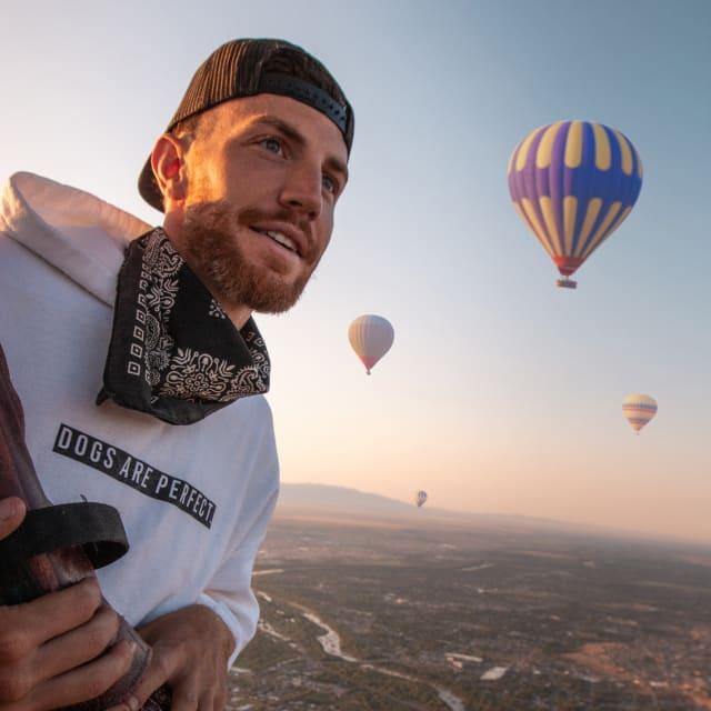 Man in hot air balloon