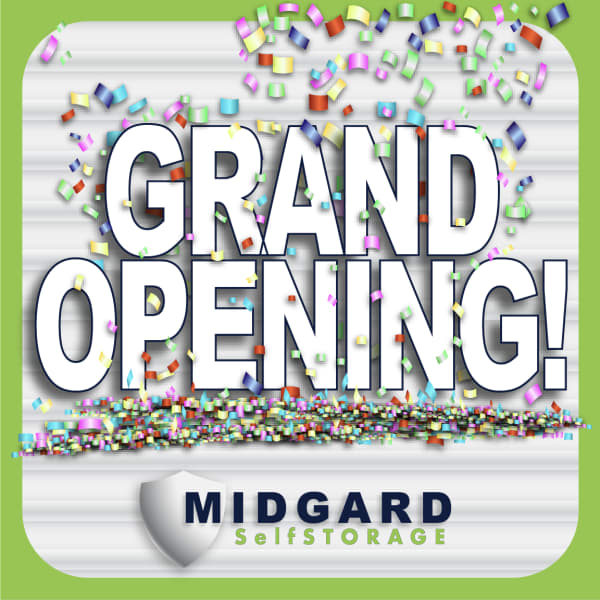 Grand opening of Midgard Self Storage in Murfreesboro, Tennessee graphic