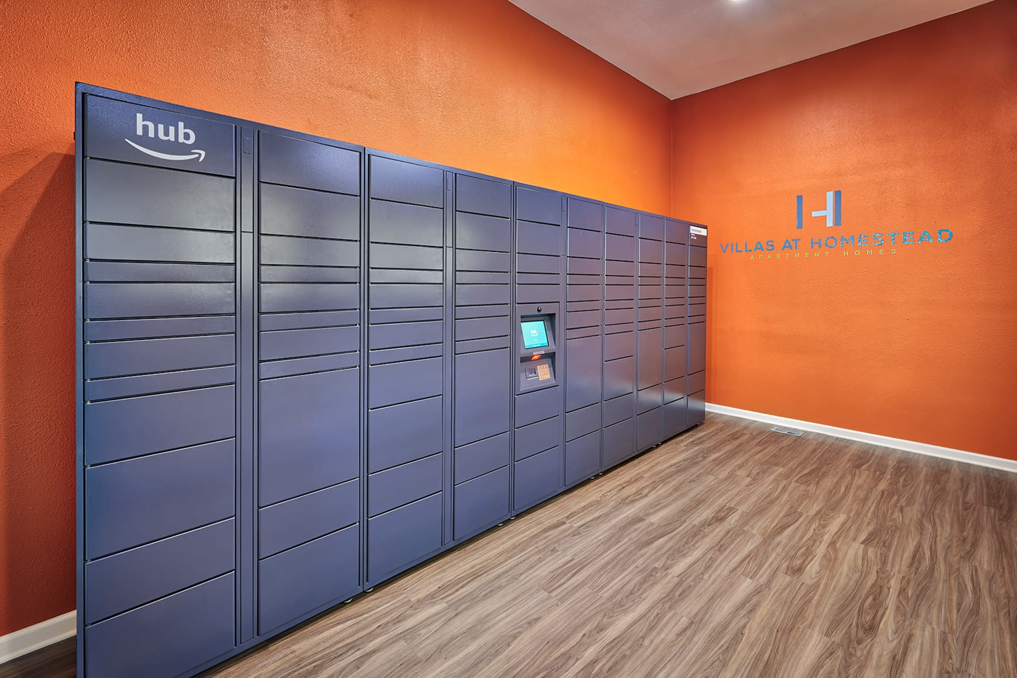 24-hour package lockers at Villas at Homestead Apartments in Englewood, Colorado