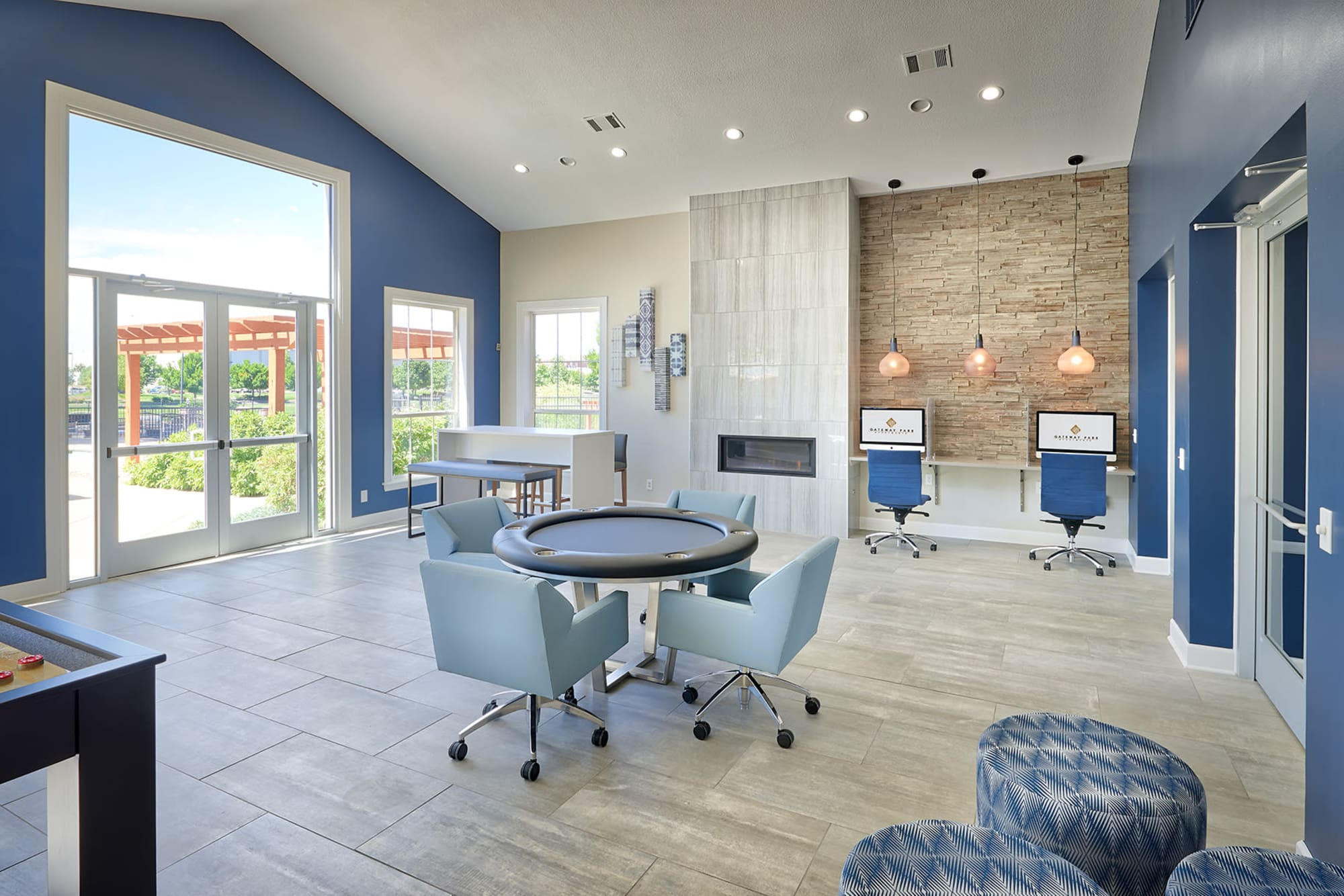 Clubhouse Game room at Gateway Park Apartments in Denver, CO