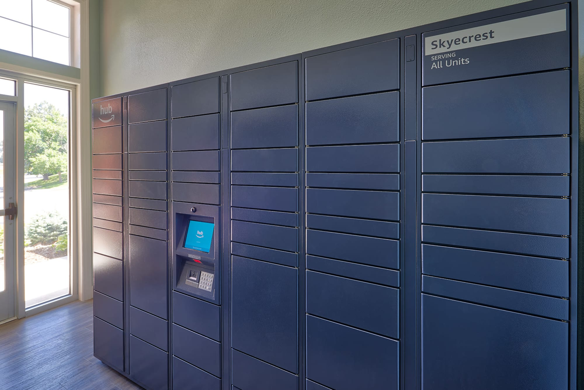 24-hour package lockers at Skyecrest Apartments in Lakewood, Colorado