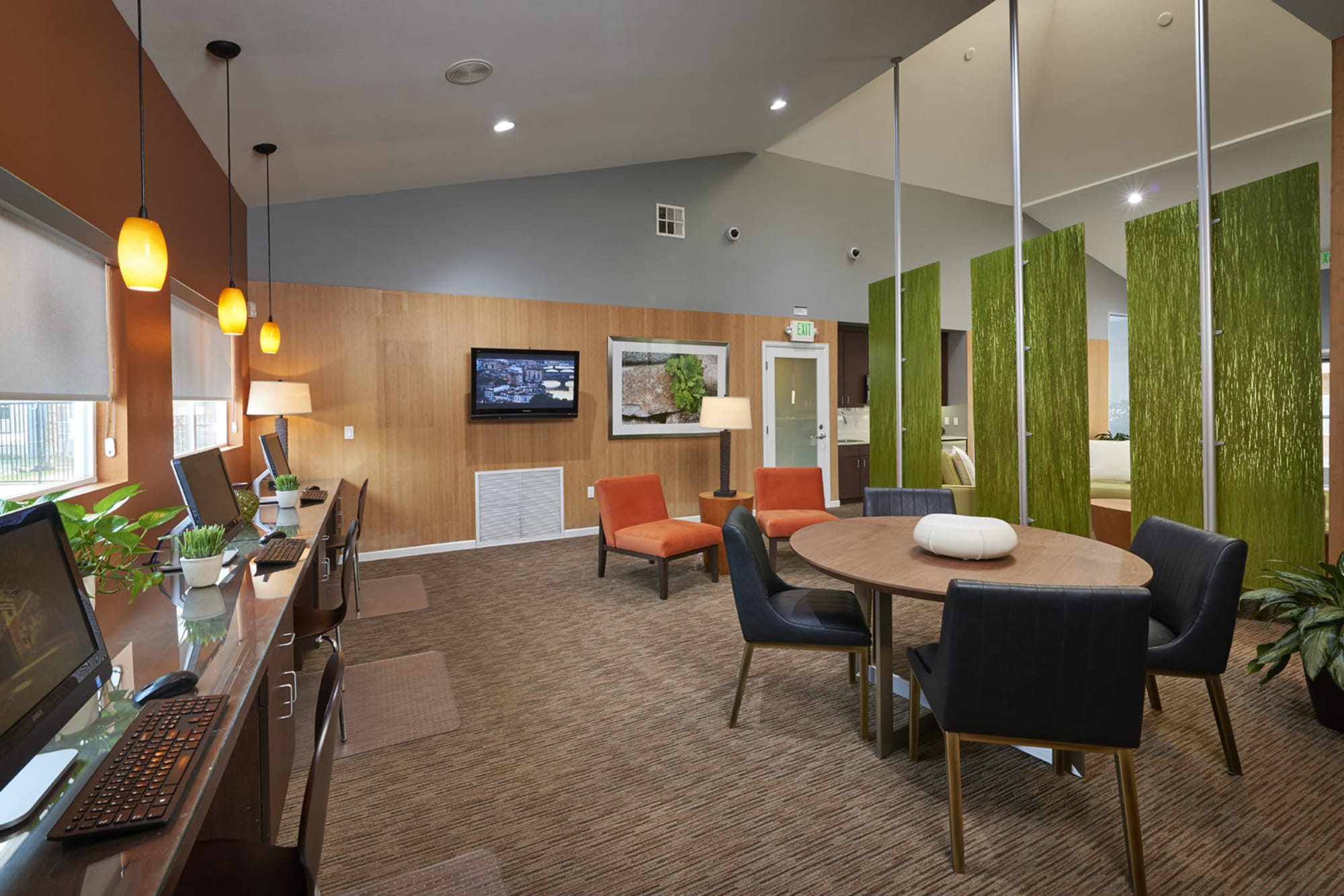 The business center at Alton Green Apartments in Denver, Colorado