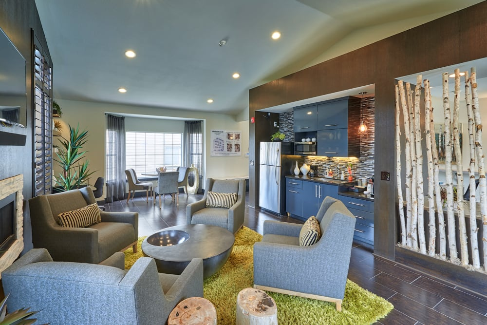 Comfortable seating in the community clubhouse at Arapahoe Club Apartments in Denver, Colorado