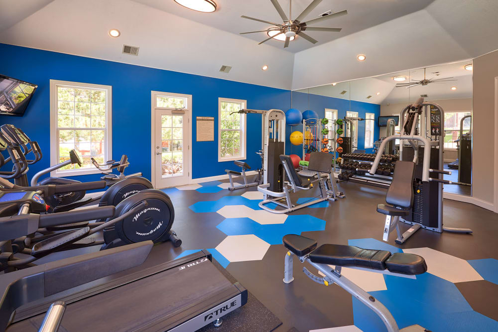 Fitness center with plenty of individual workout stations at Skyecrest Apartments in Lakewood, Colorado