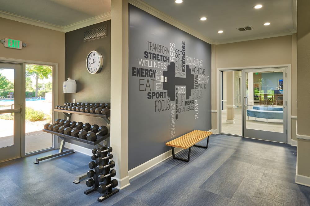 Fitness center with plenty of free weights at Gateway Park Apartments in Denver, Colorado
