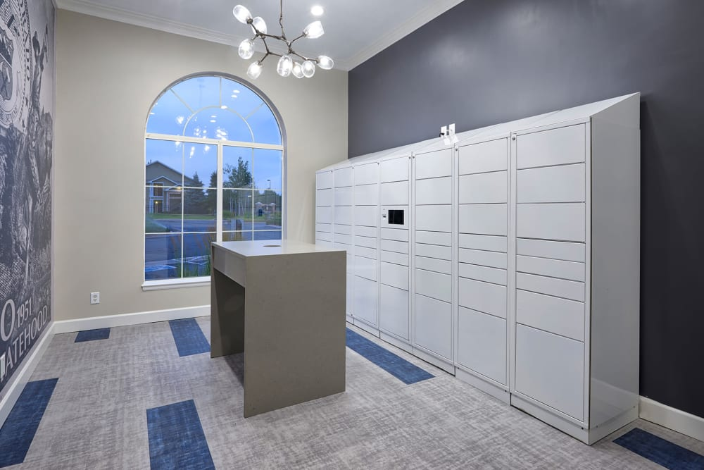 The convenient package room at Gateway Park Apartments in Denver, Colorado