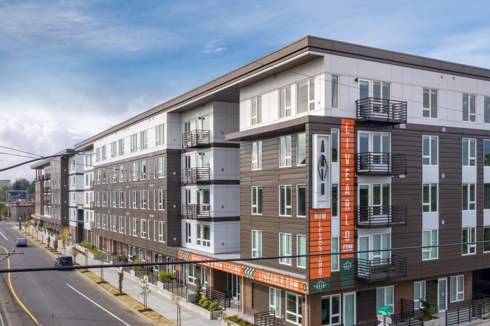 Exterior view of our community at ArLo Apartments in Portland, Oregon
