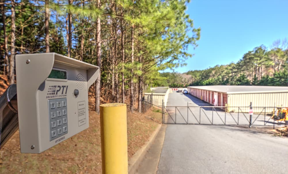 Gated entrance at Prime Storage in Acworth, Georgia