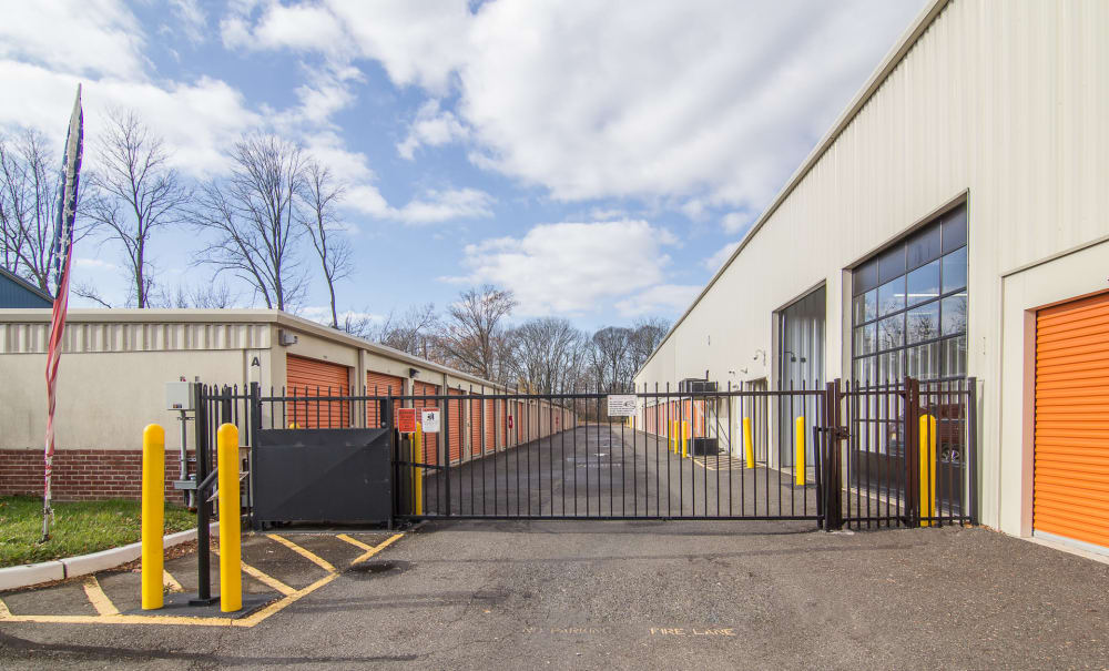 Secured gate at Prime Storage in Bordentown, New Jersey