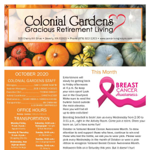 October newsletter at Colonial Gardens Gracious Retirement Living in Beverly, Massachusetts