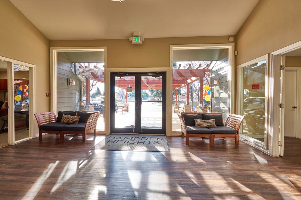 Leasing center lobby at Hampden Heights Apartments in Denver, Colorado
