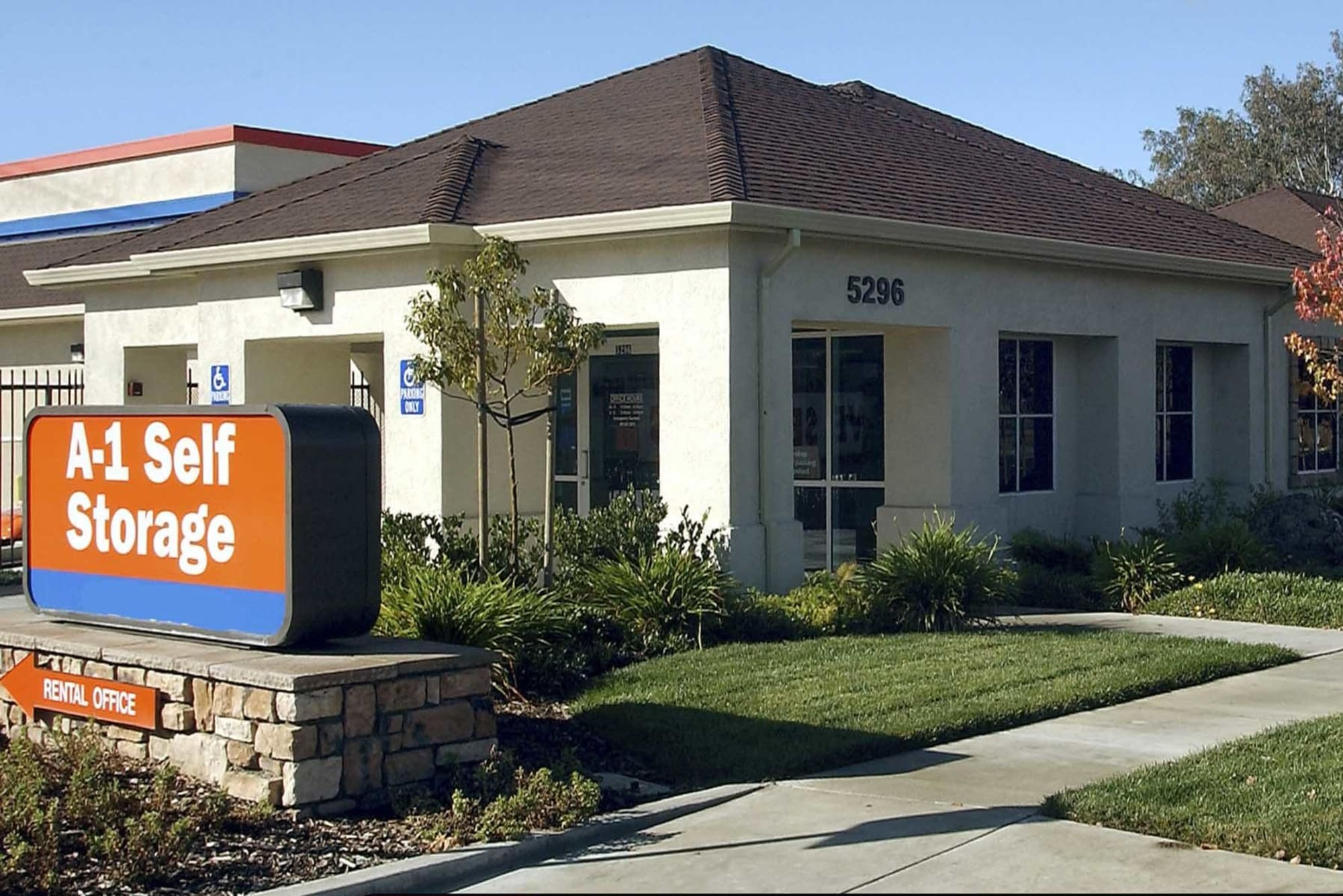 View from the street of A-1 Self Storage in Concord, California