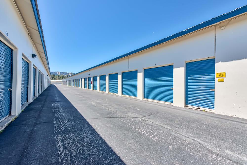 Wide driveway between units at Golden State Storage - Big Bear in Big Bear, California