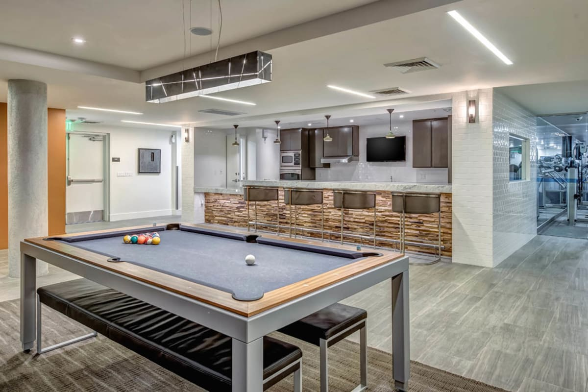 Billiards table in the game room at Esprit Marina del Rey in Marina del Rey, California
