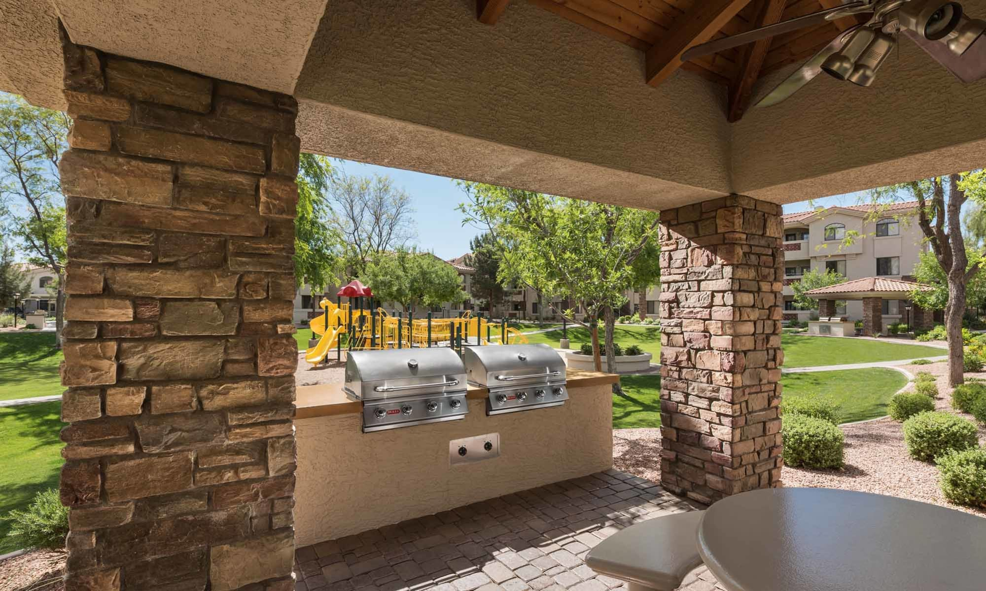 Luxury bbq area at San Hacienda in Chandler, Arizona
